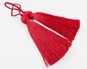 Long Deep Red Silk Thread Tassels -  3 inches - 77mm  - 2 pc