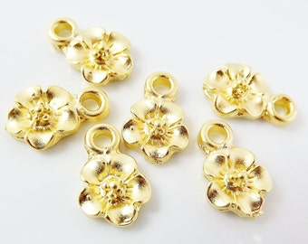 6 Cherry Blossom Flower Charms - Flat back - 22k Matte Gold Plated