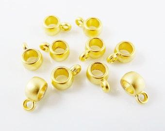 10 Mini Bead Bail Charm Holder Slider - 22k Matte Gold Plated
