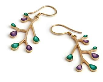 Purple Turquoise Jewelry, Xmas Shopping,Purple Earrings,Branch Earrings,Purple Gold Dangles,Nature Jewelry,Enamel Jewelry,Gifts for Xmas Her