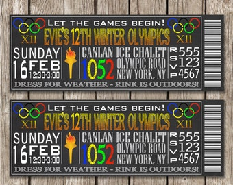 Chalkboard Olympics Party Invitation - Ice Skating or Olympic Birthday Party - DIY Printable