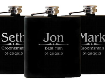 Personalized Flasks, 8 Groomsmen, Wedding Party Flasks, Gift for Men, Custom Flask, Groomsman Gift, Flask, Wedding Favor, Engagement Gift