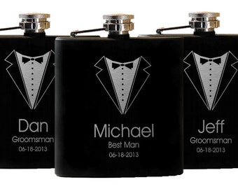 Bachelor Party, 8 Personalized Flasks, Custom Flask, Engraved Flasks, Stock the Bar, Wedding Party, Gifts for Groomsmen