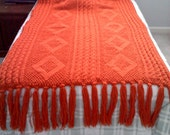 Beautiful 62x40 Afghan, cable and diamonds