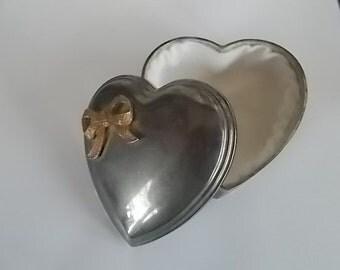 Vintage Silvertone Heart Shape Jewelry Casket