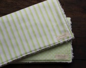 Gender Neutral Burp Cloths // Set of 2 // Green and White Stripes & Check