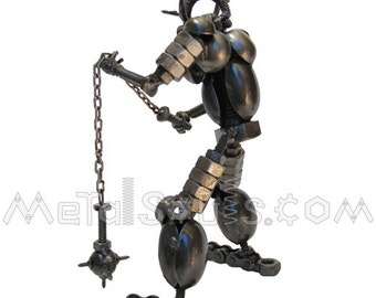 Viking Warrior with Chain-mace Sculpture