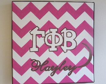 hand painted personalized Gamma Phi Beta letters outline with chevron background 12x12 canvas OFFICIAL LICENSED PRODUCT