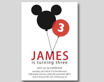 Mickey Mouse Balloons Birthday Invitation - Custom DIY Printable