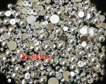 NEW !!! 800 pieces Silver Chrome High Gloss Mixed Sizes Flatback Pearl Cabochons