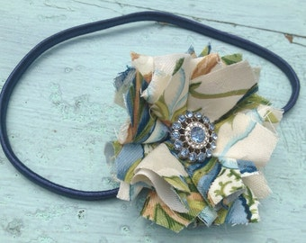 Green & Navy Blue Fabric Flower Headband, Hair Clip, Rolled Fabric Flower, Hair Accessories, Tropical Summer Headband, Fabric Flower Brooch,