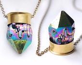 Titanium Rainbow Aura Quartz Crystal Brass 12 Gauge Shotgun Bullet Shell Pendant Necklace