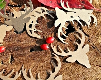 25 + Deer die cut - deer punch outs - deer head confetti, Deer Embellishment,