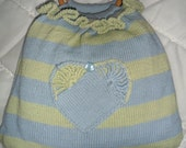 Hand made Bag with heart decoration and circular handles. Blue/Green colour.