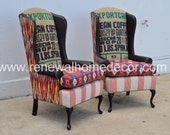 "Custom Order - Upholstered Wingbacks "" Patricia's Guatemalan Wingbacks"" - SOLD - Price per chair"