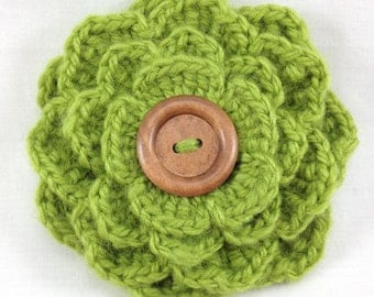Green Flower Brooch, Apple Green Flower Crochet Pin, Crochet Brooch, Green Corsage