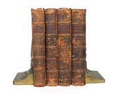 Antique Books - Decorative Leather Book Set - Complete History of England - T. Smollett - Book Decor - Photo Prop - Library Decor