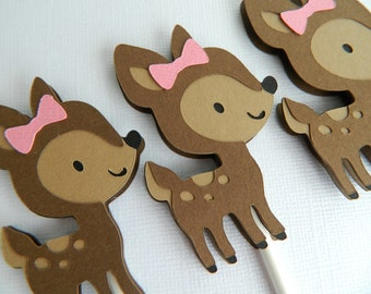 Girl Fawn Cupcake Toppers Girl Fawn Baby Shower Girl Fawn Birthday Party Fawn Cupcake Toppers Fawn First Birthday • Set of 12