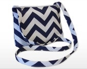 Chevron Small Crossbody Bag/ Messenger Bag/ Zippered Bag/  Orange, Navy,  Red, Gray, Blue twill, Yellow  and Pink.