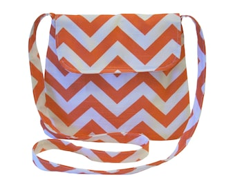 Chevron Medium Cross body Bag/ Messenger Bag/ Navy, Red, Pink, Blue Twill,Orange, Yellow, Gray.