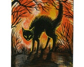 HALLOWEEN Black Cat Original Painting on a Playing Card - 2.5 x 3.5