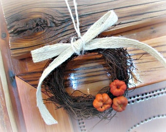 Pumpkin Ornament, Small Mini Wreath, Pumpkin Wreath, Rustic Twig Wreath, Pumpkin Decor, Wall Decor, Fall Autumn Decorations, Gift for Mom