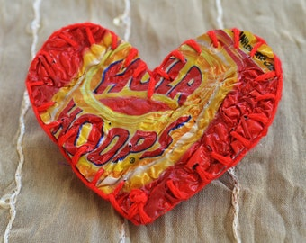 Valentine love heart brooch handmade from recycled plastic crisp packets. Unique, textural, red, yellow, cotton, original, unusual gift idea