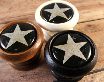 Folk Art Star Decorative Wood Cabinet Knobs, Pulls...Price is for 1 Knob (Quantity Discounts Available!)