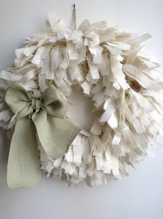 Christmas Wreath, Burlap Christmas Wreath, Holiday Wreath, Everyday Wreath, Spring Wreath, White Wreath, Tan Wreath
