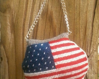 Needlepoint United States flag Purse  Ornaments