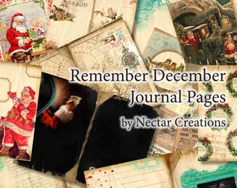 Remember December vintage Printable Christmas Journal Pages INSTANT DOWNLOAD December Daily type pages for scrapbooking, journals cards