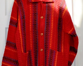 Hand Made 100% Wool sweater from Ecuador Vibrant colors  Otavalo