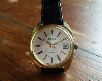 Excellent 1970s Men's Benrus Watch 17 Jewels Manual Wind, Free Shipping