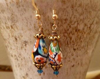 Rare vintage Murano Millefiori Venetian bead dangle gold earrings handmade swarovski jewelry