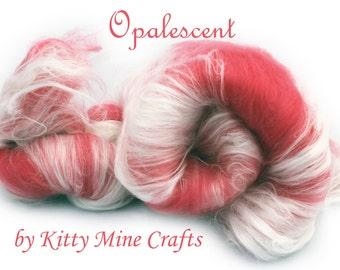 Opalescent Luxury Art Batt - Coral - Merino Wool, Milk Silk, Viscose - Drum Carded Roving - Felting, Spinning