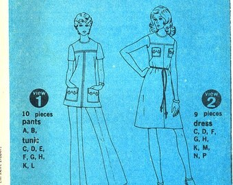 Uncut 1970's Vintage Simplicity Pattern 5620, Size 14, Misses' Dress or Tunic and Pants - No Envelope