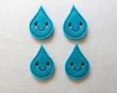 """Happy Raindrop Felt Embellishment, set of 4, Felties,  2"""" x 1.25"""""""