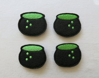 Witch Caldron Felt Embelishments, set of 4, Felties