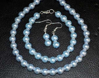 Blue Pearl Bridal Set with Spacers 3pc