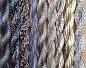 Hand Dyed Silk, Cotton and Viscose Threads, Small Skein Selection, Colour - Various tones of Mid to Light Grey