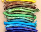 Hand Dyed Silk Carrier Rods, Mulberry Silk Fibres, Selection Pack of 24 Silk Carrier Rods in colours across the Spectrum, UK Seller