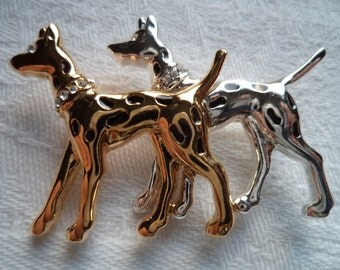 Vintage Silvertone/Goldtone Double Spotty Dogs with Rhinestones Brooch/Pin