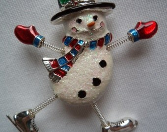 Vintage Signed Danecraft  Sparkling Skating Snowman Brooch/Pin Spring Legs and Arms