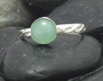 Sterling Silver Ring with your choice of stone,  handmade silver ring, Gemstone Stacking Ring, Aventurine ring, onyx ring, carnelian