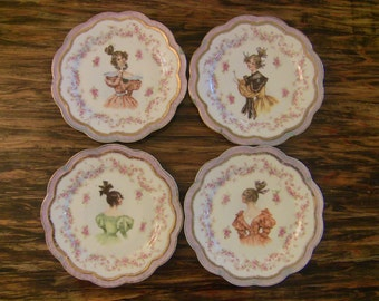 MAKE OFFER! Set of 4 Antique Bavaria Porcelain Plates with Portraits of Victorian Ladies-Decorative Collectible Plates