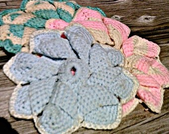 Vintage Crocheted Kitchen Hot Plates Hot Pads Potholders