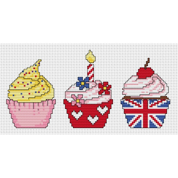 Cute cupcake trio cross stitch PDF Pattern, instant download