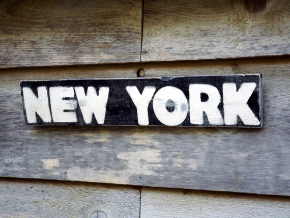 Rustic wood sign new york street sign reclaimed wood art for Reclaimed wood new york
