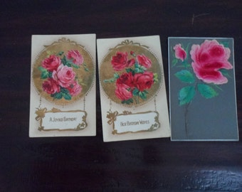 antique Victorian post cards flowers embossed  Lot of 3