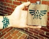 Zelda Flask wood  flask . Unique gift for Zelda fan